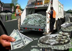 Money in the garbage